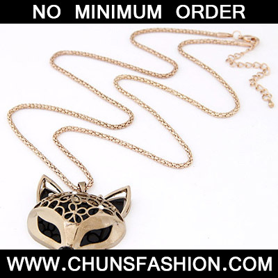 Gold Fox Shape Pendant Necklace