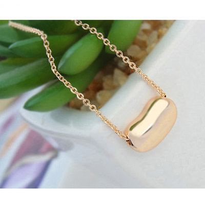 Rose Gold Beans Shape Crystal Necklace