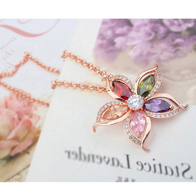 Multi& Rose Gold Diamond Flower Pendant