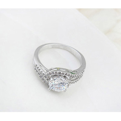 White Diamond Zircon Crystal Ring