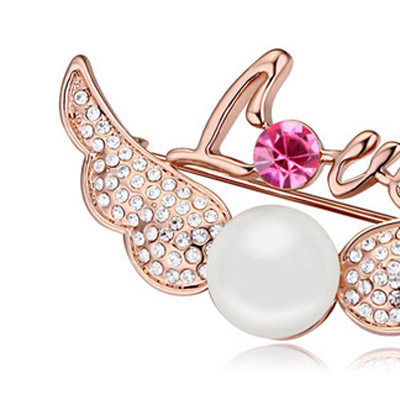 White & Rose Gold Pearl Wings