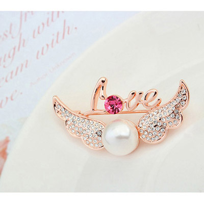 White & Rose Gold Pearl Wings - Click Image to Close