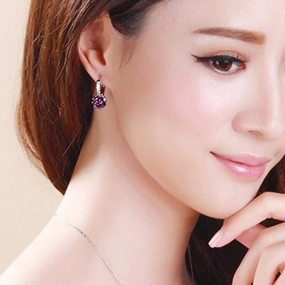 Purple Diamond Crystal Earring