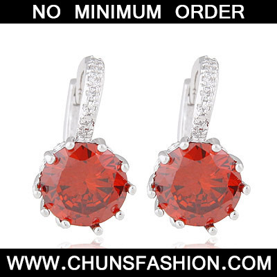 Garnet Red Diamond Crystal Earring