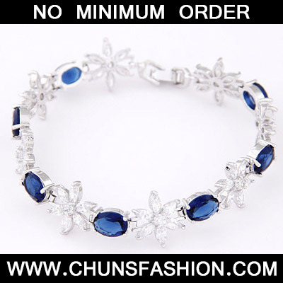 Blue Diamond Flower Zircon Bracele