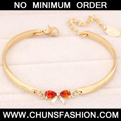 Red Diamond Bowknot Shape Cuprum Bracele