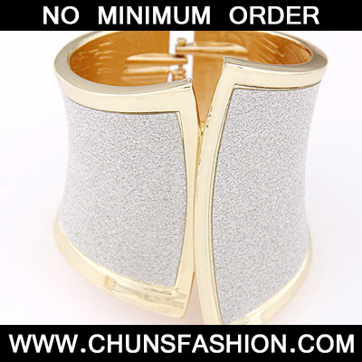 Silver Geometrical Shape Wide Bangle