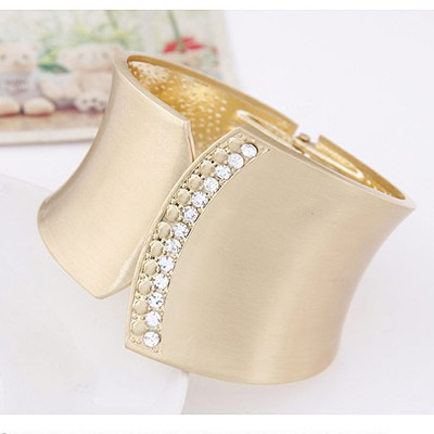 Gold Diamond Geometrical Shape Wide Bangle