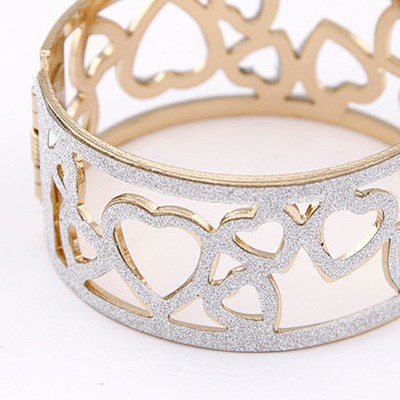 Silver Heart Shape Hollow Out Bangle