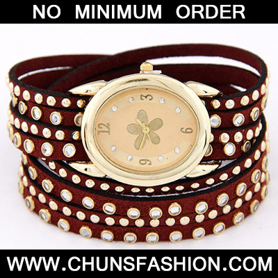 Claret red Diamond Multilayer Ladies Watch