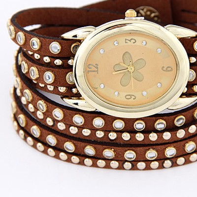 Coffee Diamond Multilayer Ladies Watch