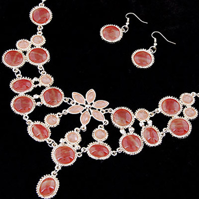 watermeoln red Waterdrop Shape Jewelry Set