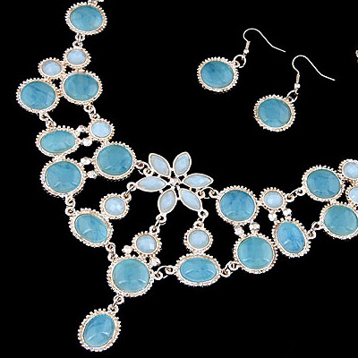 Blue Waterdrop Shape Jewelry Set