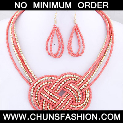 Pink Beads Multilayer Weave Beads Jewelry Set