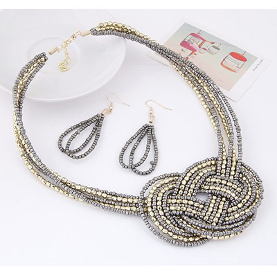 Silver Beads Multilayer Weave Beads Jewelry Set