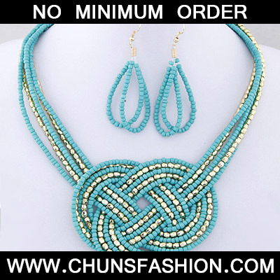 Blue Beads Multilayer Weave Beads Jewelry Set