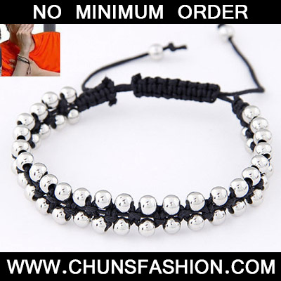 Black Beads Weave Rope Bracele