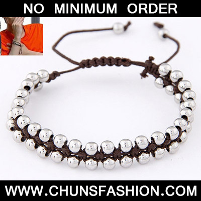 Coffee Beads Weave Rope Bracele