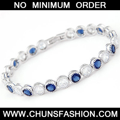 White & Blue Diamond Zircon Bracelet