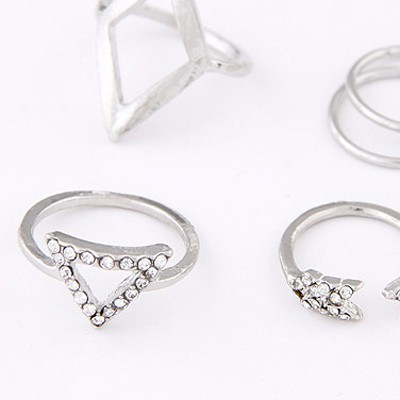 Silver Diamond Triangle Shape Rings 5pcs