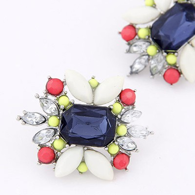 Dark Blue Diamond Flower Stud Earring