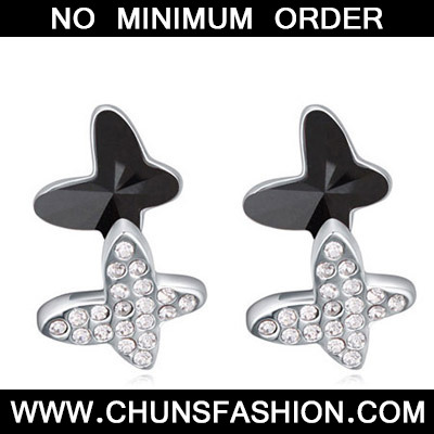 Black Diamond Butterfly Shape Crystal Earring
