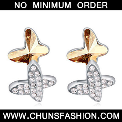 Gold Diamond Butterfly Shape Crystal Earring
