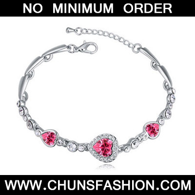 Plum Red Heart Shape Crystal Bracelet