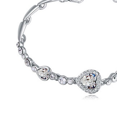 White Heart Shape Crystal Bracelet