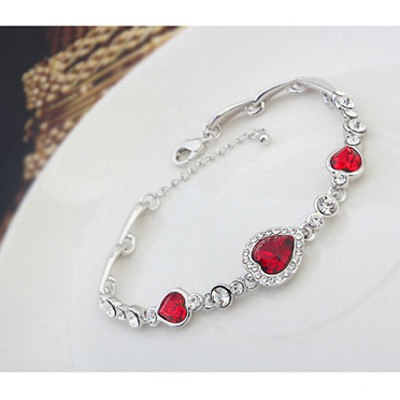 Red Heart Shape Crystal Bracelet