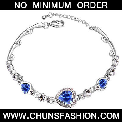 Blue Diamond Heart Shape Crystal Bracelet