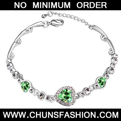 Olive Diamond Heart Shape Crystal Bracelet