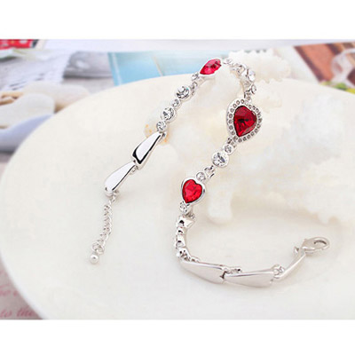 Red Diamond Heart Shape Crystal Bracelet