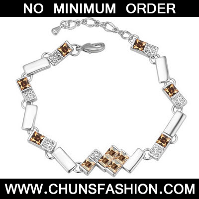 Gold Diamond Geometrical Shape Crystal Bracelet