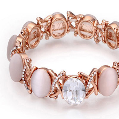 White & Rose Gold Oval Shape