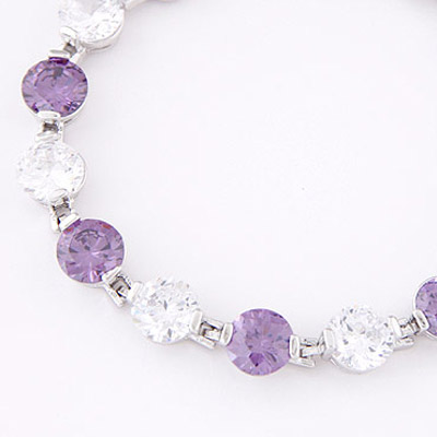 White & Purple Diamond Zircon Bracelet