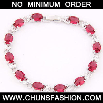 Plum Red Oval Shape Zircon Bracelet