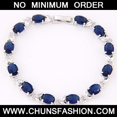 Dark Blue Oval Shape Zircon Bracelet