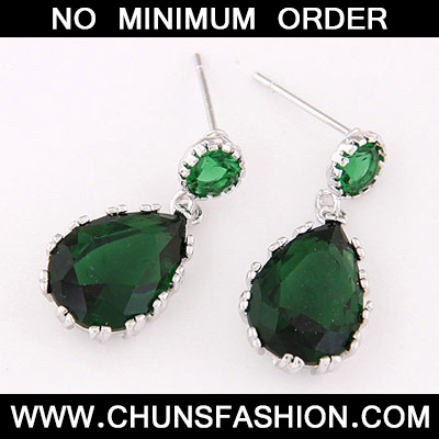 Green Waterdrop Shape Zircon Stud Earring