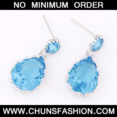 Blue Waterdrop Shape Zircon Stud Earring