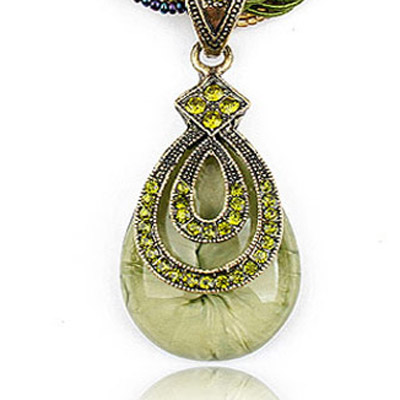 Green Diamond Waterdrop Pendant Necklace