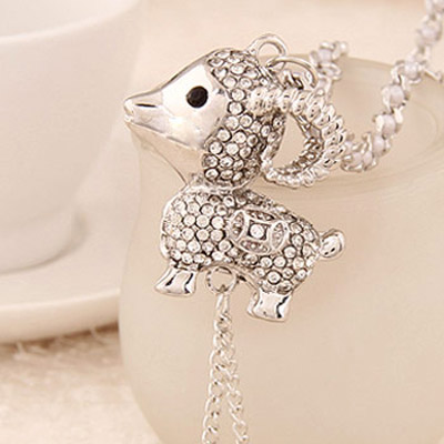 Silver Diamond Sheep Shape Necklace