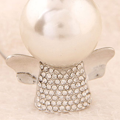 Silver Pearl Angel Shape Necklace