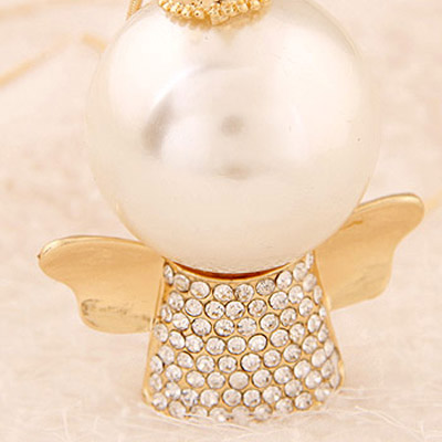 Gold Pearl Angel Shape Necklace