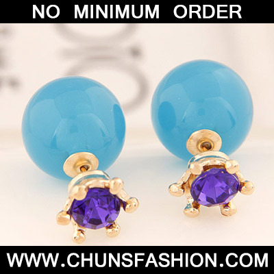 Blue Candy Round Shape Stud Earring
