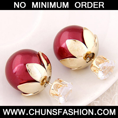 Red Round Shape Stud Earring