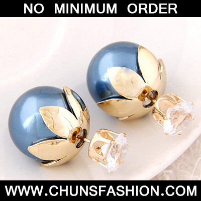Blue Round Shape Stud Earring