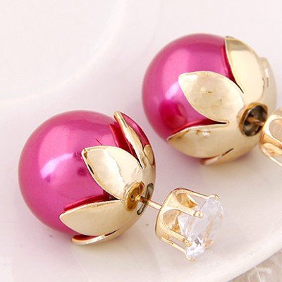 Plum Red Round Shape Stud Earring