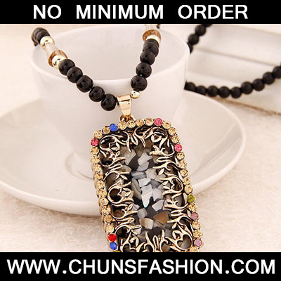MultiDiamond Rectangular Pendant Necklace