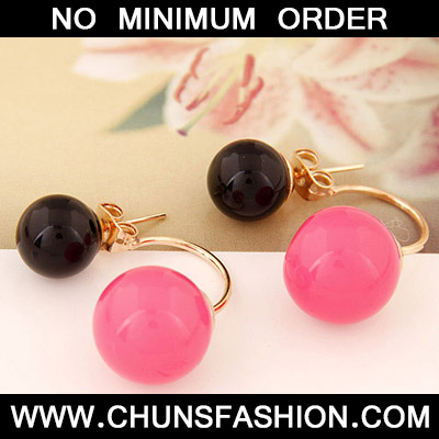 Black Candy Round Shape Stud Earring